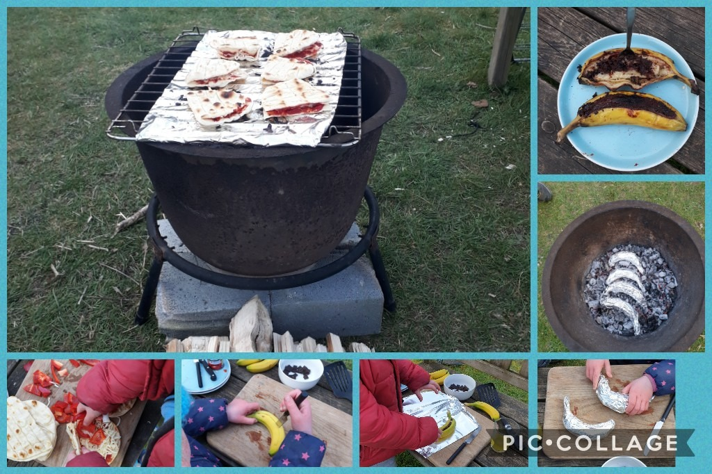 Experimental cooking over an open fire